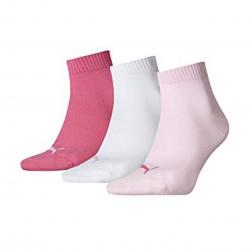 Puma quarter plain bco / pink 3 pares