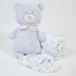 Manta + urso de peluche azul