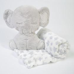 Manta + elefante peludo cinzento