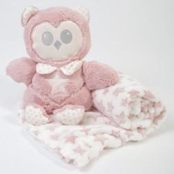 Peluche + coruja de peluche cor-de-rosa