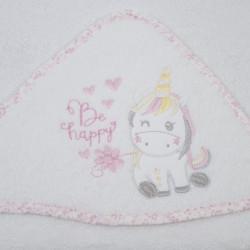Casaco de banho unicórnio 124 bco / rosa