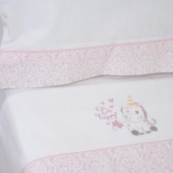 Conjunto de folhas cote franela unicorn 124 124 branco / rosa