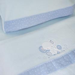 Conjunto de lençóis de berço coral 084 azul