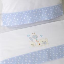 Conjunto de lençóis de berço 068 bco / azul