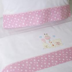 Conjunto de cama para berço 068 branco / rosa