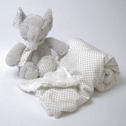 Cobertor de bolinhas + elefante cinza de pelúcia