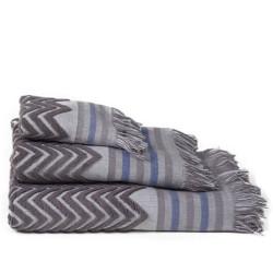Zig-zag jacquard gray toalha