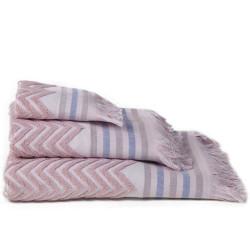 Zig-zag jacquard toalha rosa